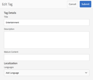 Tag dialog with Mature Content custom field